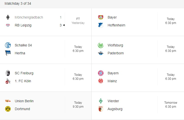 Bundes liga this week