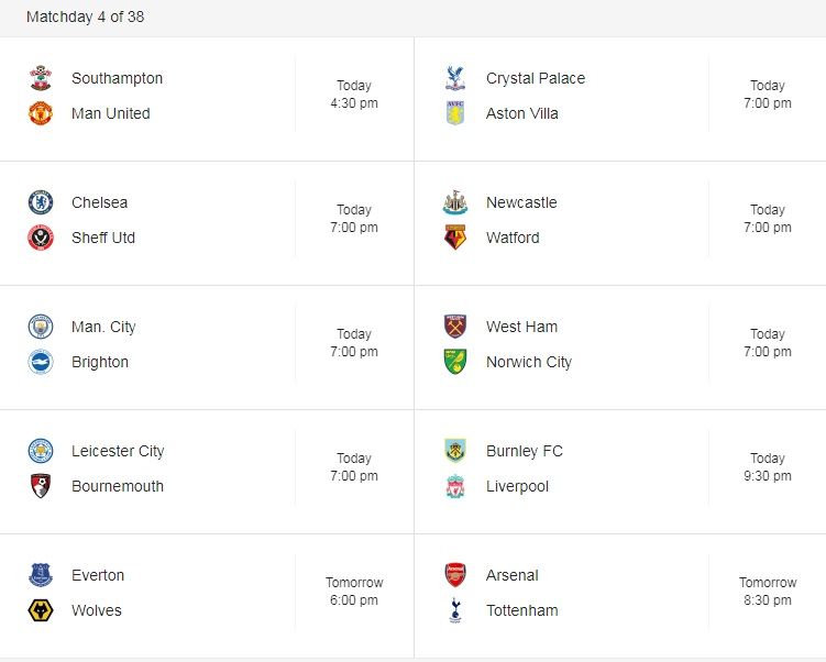 premier league 31 August Matches