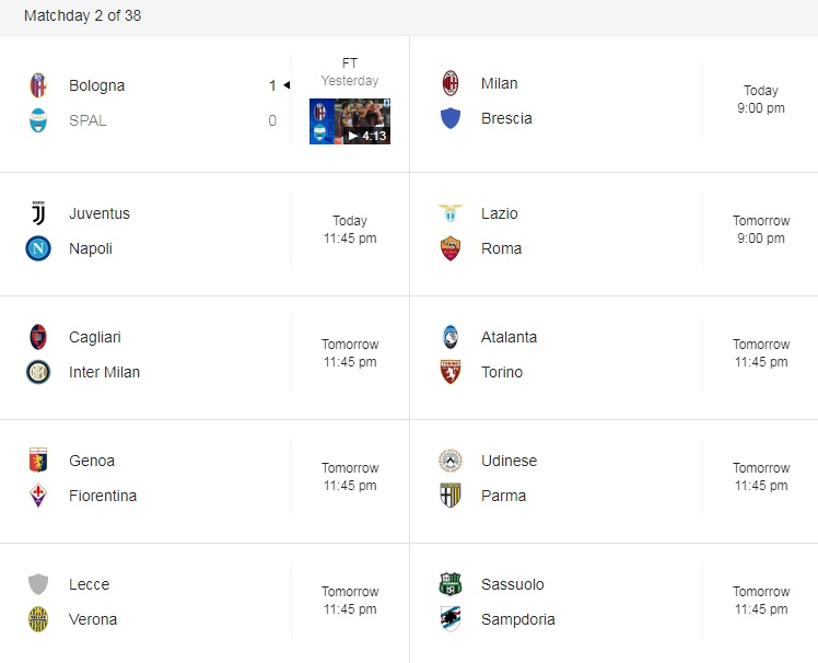 serie a action 31 august