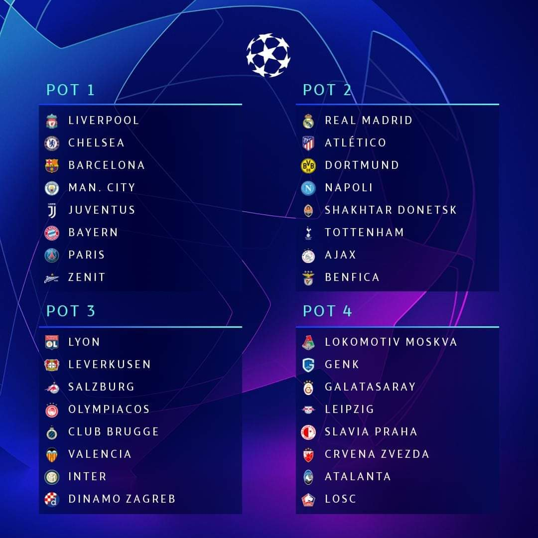 ucl draw pots tonight
