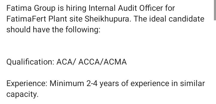 internal audit job shiekhupura